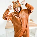 cheap Kigurumi Pajamas-Adults' Bear Anime Onesie Pajamas polyester fibre Brown Cosplay For Men and Women Animal Sleepwear Cartoon Festival / Holiday Costumes