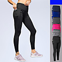 cheap Fitness, Running & Yoga Clothing-Women's Pocket Running Tights Blue Dark Gray Light gray Sports Solid Color Elastane High Rise Tights Leggings Zumba Running Fitness Activewear Breathable Moisture Wicking Quick Dry Stretchy Skinny