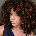 cheap Foot/Shoe Accents-Synthetic Extentions Women's Afro Curly / Bouncy Curl Black Asymmetrical / With Bangs Synthetic Hair 14 inch Women Black / Dark Brown Wig Short Capless Natural Black Dark Brown / Medium Auburn Golden