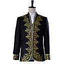 cheap Historical & Vintage Costumes-Prince Cosplay Costume Masquerade Jacket Tuxedo Suits & Blazers Men's Baroque Medieval 18th Century Halloween Carnival Festival / Holiday Outfits Black Solid Colored Embroidered / Lace