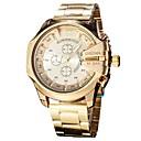 levne Vojenské hodinky-Pánské Náramkové hodinky japonština Křemenný Nerez Černá / Stříbro / Zlatá Kalendář Chronograf Hodinky na běžné nošení Analogové Skládaný Módní - stříbrná / černá Zlatá / černá Černá / Bílá Dva roky