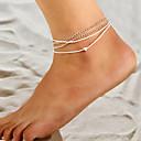 billige Ankelkjede-Dame Lag-på-lag stables fotlenke - Hjerte damer, Enkel, Vintage, Europeisk Smykker Sølv Til Avslappet Daglig