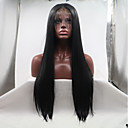 cheap Synthetic Capless Wigs-Synthetic Lace Front Wig Women's kinky Straight Black Layered Haircut 130% Density Synthetic Hair 26 inch Women Black Wig Mid Length Lace Front Natural Black Sylvia / Yes