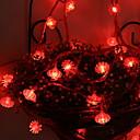 رخيصةأون أضواء شريط LED-5m أضواء سلسلة 50 المصابيح أحمر ديكور بطاريات آ بالطاقة 1SET