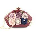 cheap Clutches & Evening Bags-Women's Buttons / Flower Evening Bag PU(Polyurethane) Floral Print Black / Blushing Pink / Wine / Fall & Winter