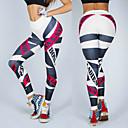 ieftine Îmbrăcăminte de Fitness, Alergat & Yoga-Pentru femei Jacquard Pantaloni de yoga Alb Negru Sport Imprimeu Elastan Dresuri Ciclism Leggings Zumba Alergat Fitness Îmbrăcăminte de Sport Respirabil Confortabil la umezeală Uscare rapidă Strech