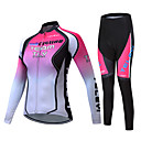 cheap Cycling Jersey & Shorts / Pants Sets-TELEYI Women's Long Sleeve Cycling Jersey with Tights Pink Gradient Bike Clothing Suit Fleece Lining Breathable Winter Sports Polyester Gradient Mountain Bike MTB Road Bike Cycling Clothing Apparel