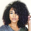 cheap Human Hair Wigs-Remy Human Hair Lace Front Wig Layered Haircut Rihanna style Brazilian Hair Curly Black Wig 150% Density with Baby Hair Natural Hairline African American Wig For Black Women Unprocessed Black Women's