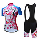 cheap Cycling Jersey & Shorts / Pants Sets-TELEYI Women's Short Sleeve Cycling Jersey with Bib Shorts White Black Floral Botanical Bike Clothing Suit Breathable Quick Dry Sports Polyester Floral Botanical Mountain Bike MTB Road Bike Cycling