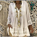 cheap High Quality Duvet Covers-Women's Daily Beach Blouses / Boho Plus Size Lace T-shirt - Solid Color Lace V Neck Blushing Pink XXXL