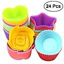 preiswerte Kuchenbackformen-Backwerkzeuge Silikon Gummi Heimwerken Für Kuchen Kreisförmig Kuchenformen 24 Stück