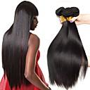 billige Parykker af ægte menneskerhår-4 pakker Lige Ubehandlet Menneskehår 100% Remy Hair Weave Bundles Menneskehår, Bølget Hårplejeattributter Bundle Hair 8-28 inch Naturlig Farve Menneskehår Vævninger Blød Silkeagtig Bedste kvalitet