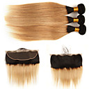 cheap Human Hair Wigs-3 Bundles with Closure Brazilian Hair Straight Remy Human Hair Human Hair Extensions Hair Weft with Closure 10-24 inch Human Hair Weaves Fashionable Design Soft Best Quality Human Hair Extensions