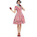 זול תחפושות מהעולם הישן-אודרי הפבורן גברת מייזל הנהדרת פרחוני רטרו\וינטאג' שנות ה-60 צרעה - מותניים תחפושות בגדי ריקוד נשים שמלות אדום וינטאג Cosplay שרוולים קצרים חולצת טי צווארון V באורך  הברך