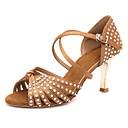 hesapli Latin Dans Ayakkabıları-Kadın's Dans Ayakkabıları Saten Latin Dans Ayakkabıları Kristal Detaylar Topuklular / Spor Ayakkabı İnce Topuk Kişiselleştirilmiş Kahverengi / Performans / Deri / EU36