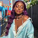 halpa Synteettiset peruukit-Synteettiset peruukit Laineita / Luonnolliset aaltoilevat Rihanna Tyyli Keskiosa Suojuksettomat Peruukki Violetti Purppura Synteettiset hiukset 26 inch Naisten Muodikas malli / Pehmeä / Uusi malli