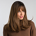 cheap Synthetic Wigs-Synthetic Wig Natural Straight Brown With Bangs Black / Brown Synthetic Hair 18 inch Women's Fashionable Design / Synthetic / New Arrival Brown Wig Medium Length Capless MAYSU / Ombre Hair