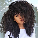 cheap Human Hair Wigs-Synthetic Lace Front Wig Curly / Kinky Curly Style Layered Haircut Lace Front Wig Black Natural Black Dark Brown Synthetic Hair 18 inch Women's Heat Resistant / Natural Hairline / African American Wig
