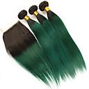 tanie Dopinki naturalne-3 zestawy z zamknięciem Włosy brazylijskie Prosta Włosy naturalne remy Doczepy z naturalnych włosów Taśma włosów z zamknięciem 10-24 in Ludzkie włosy wyplata Miękka Najwyższa jakość Nowości Ludzkich