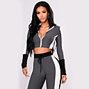 cheap Fitness, Running & Yoga Clothing-Women's V Neck Drawstring Tracksuit Yoga Suit Grey Sports Color Block High Rise Leggings Crop Top Top Zumba Yoga Running Long Sleeve Activewear Breathable Sweat-wicking Butt Lift Stretchy Skinny