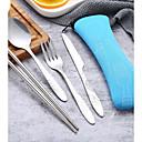 זול כלי אוכל-כלי אוכל 1set ידידותי לסביבה רב שימושי פלדת על חלד מזלג ארחות ערב סכין ארוחת ערב מקלות אכילה