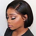 cheap Human Hair Capless Wigs-Human Hair Lace Front Wig Bob Short Bob style Brazilian Hair Silky Straight Black Wig 130% Density with Baby Hair Natural Hairline For Black Women 100% Virgin 100% Hand Tied Black Women's Short Human