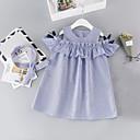 economico Vestiti per ragazze-Bambino Da ragazza Dolce / Moda città Quotidiano / Per uscire A strisce Con balze Senza maniche Rayon Vestito Blu
