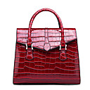 cheap Bike Handlebar Bags-Women's Bags Patent Leather / PU(Polyurethane) Tote Embossed Crocodile Red / Gray / Brown