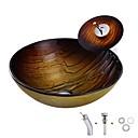 billige Frittstående vask-Baderomsvask / Baderomskran / Baderom Monteringsring Antikk - Herdet Glass Rund