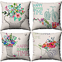 cheap Pillow Covers-4 pcs Cotton / Linen Pillow Cover, Floral Pattern Floral Print Flower Patterned