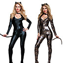 cheap Sexy Uniforms-Zentai Suits Catsuit Skin Suit Ninja Bunny Girl Adults' Cosplay Costumes Leotards Black / Dark Brown Solid Colored Leopard Print Patent Leather Nylon Tactel Women's Halloween Carnival Masquerade