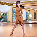 cheap Ballroom Dancewear-Latin Dance Dresses Women's Performance Crystal Cotton Ruching Long Sleeve Dress