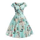 זול חכמים wristbands-צווארון V מידי פרחוני דפוס, גיאומטרי - שמלה סווינג רזה בגדי ריקוד נשים
