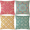 cheap Pillow Covers-4 pcs Cotton / Linen Pillow Cover, Geometric / Patterned / Classic Geometric / Classical