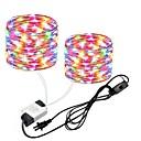levne LED pásky-zdm 2x10m / 66ft 2x100leds vodotěsné měděné dráty světelné řady eur / us konektor s vypínačem přímé použití ac85-265v