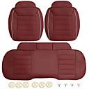 abordables Couvre Siège de Voiture-3pcs PU cuir voiture avant siège arrière couvre siège universel protecteur coussin coussin tapis