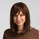 cheap Human Hair Capless Wigs-Human Hair Capless Wigs Human Hair Natural Straight Bob Fashionable Design / Easy dressing / Comfortable Brown Medium Length Capless Wig Women's / Natural Hairline