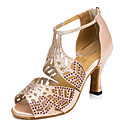 povoljno Cipele za latino plesove-Žene Plesne cipele Eko koža Cipele za latino plesove Kristalni detalji Sandale Kubanska potpetica Crn / Crvena / Nude / Koža / Vježbanje