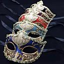 halpa Halloween- ja karnevaaliasut-Naamio / Venetsialainen naamio / Puolimaski Aikuisten Juhla / ilta / Vintage Naisten Azorit / Punainen / Sininen Muovit Party Cosplay-tarvikkeet Halloween / Karnevaali / Masquerade Puvut / Nainen