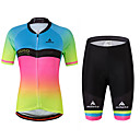 cheap Cycling Jersey & Shorts / Pants Sets-Miloto Women's Short Sleeve Cycling Jersey with Shorts - Rainbow Plus Size Bike Jersey, Reflective Strips, Sweat-wicking Spandex Gradient / Stretchy