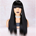 cheap Human Hair Capless Wigs-Remy Human Hair Lace Front Wig style Brazilian Hair Straight Black Wig 150% Density Odor Free Smooth Women Best Quality Thick Black Women's Mid Length Human Hair Lace Wig WoWEbony