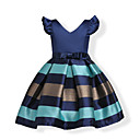 cheap Women-Kids / Toddler Girls' Bow / Sweet Party / Holiday Blue Solid Colored / Striped Short Sleeve Cotton Dress Pink