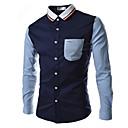 abordables Camisas de Hombre-Hombre Básico Trabajo Talla EU / US Retazos - Algodón Camisa, Cuello Inglés Bloques Blanco XL / Manga Larga / Verano