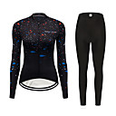 cheap Cycling Jersey & Shorts / Pants Sets-FirtySnow Women's Long Sleeve Cycling Jersey with Tights - Black Gradient Bike Clothing Suit Windproof Fleece Lining Winter Sports Polyester Gradient Mountain Bike MTB Road Bike Cycling Clothing
