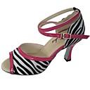 preiswerte Latein Schuhe-Damen Schuhe für den lateinamerikanischen Tanz Satin Absätze Keilabsatz Maßfertigung Tanzschuhe Schwarz / Weiß