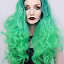cheap Synthetic Lace Wigs-Synthetic Lace Front Wig Body Wave Style Layered Haircut Lace Front Wig Green Mint Green Synthetic Hair 26 inch Women's Women Green Wig Medium Length Sylvia 130% Density Natural Wigs / Yes
