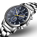 cheap Steel Band Watches-Men's Dress Watch Quartz Stainless Steel Silver Casual Watch Analog Fashion Word Watch - Black Blue One Year Battery Life