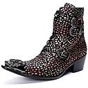 billige Herrestøvler-Herre Fashion Boots Nappa Lær Vinter Fritid / Britisk Støvler Hold Varm Støvletter Svart / Fest / aften / Nagle / Fest / aften / Combat-boots