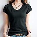 levne Ozdoby do vlasů na večírek-Dámské - Jednobarevné Tričko Bavlna Do V Štíhlý Černá XL