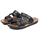 رخيصةأون صنادل رجالي-رجالي أحذية الراحة Leather نابا الصيف كاجوال صنادل المشي متنفس أسود / بني